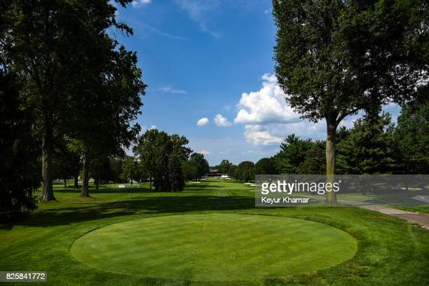 Course scenic view of the ninth hole tee box during practice for the World Golf Championships-Bridgestone Invitational at Firestone Country Club on...