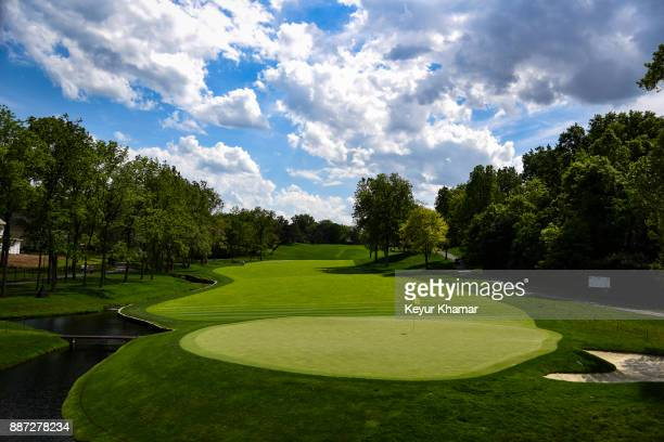 A course scenic view of the second hole green during practice for the Memorial Tournament presented by Nationwide at Muirfield Village Golf Club on...