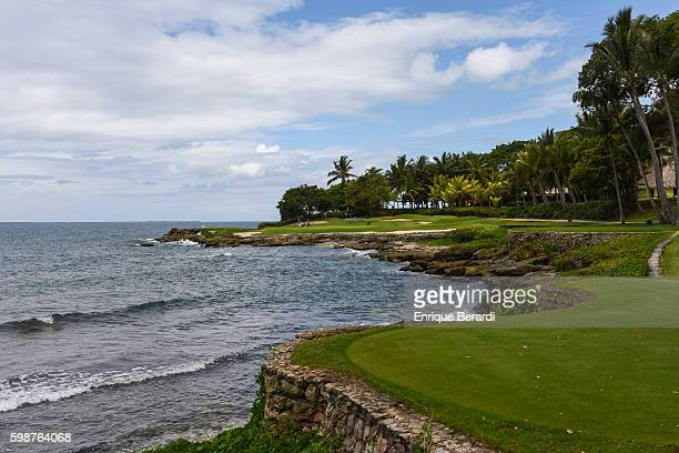 A course scenic view of the seventh hole green during the PGA TOUR Latinoamerica final round of the Casa de Campo Dominican Republic Open at Teeth of...