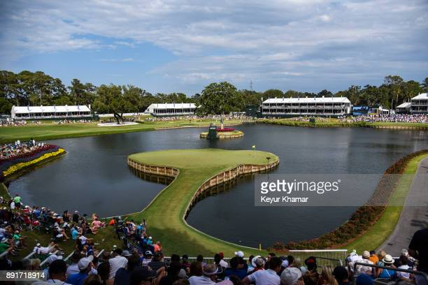 A course scenic view showing the 360 virtual reality camera on the 17th hole green during the third round of THE PLAYERS Championship on the Stadium...