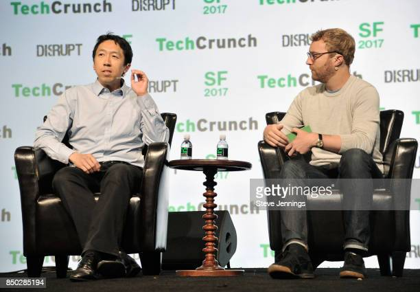 Coursera CoFounder and CoChair of the Board Andrew Ng and TechCrunch moderator Devin Coldeway speak onstage during TechCrunch Disrupt SF 2017 at Pier...