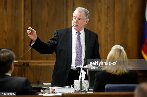 Court appointed defense attorney Tim Moore delivers his opening statements during the first day of the capital murder trial of former Marine Cpl...