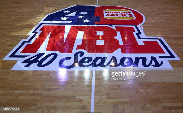 NBL court decals are seen before the round 17 NBL match between the Perth Wildcats and the Adelaide 36ers at Perth Arena on February 2 2018 in Perth...