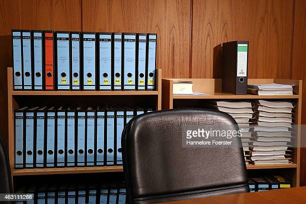 Court documents are seen at the trial against Ardi Goldman a real estate Frankfurt businessman in court over charges of bribery on February 10 2015...