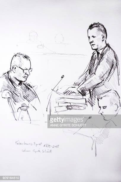 Court drawing by Anne Gyrite Schütt made available by Danish news agency Ritzau SCANPIX shows accused Peter Madsen and the prosecutor Jakob...
