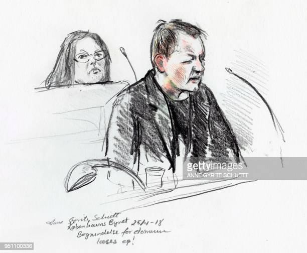 Court drawing by Anne Gyrite Schütt made available by Danish news agency Ritzau SCANPIX shows accused Peter Madsen during his trial at the courthouse...