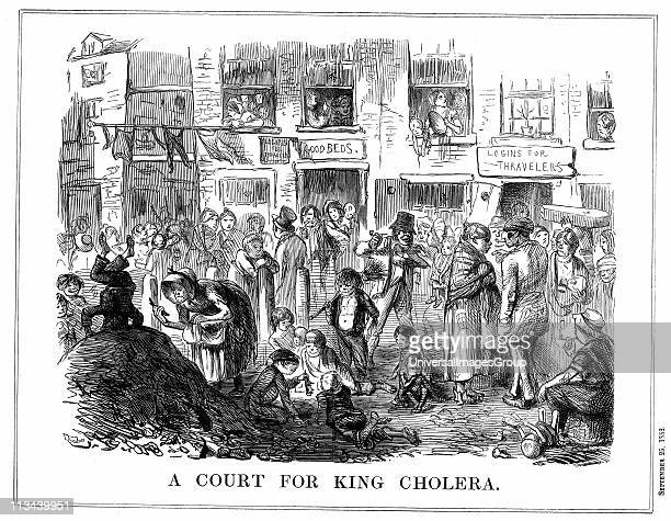 'A Court for King Cholera' typical of crowded unsanitary conditions in London slums Cartoon from Punch London 25 September 1852 Wood engraving