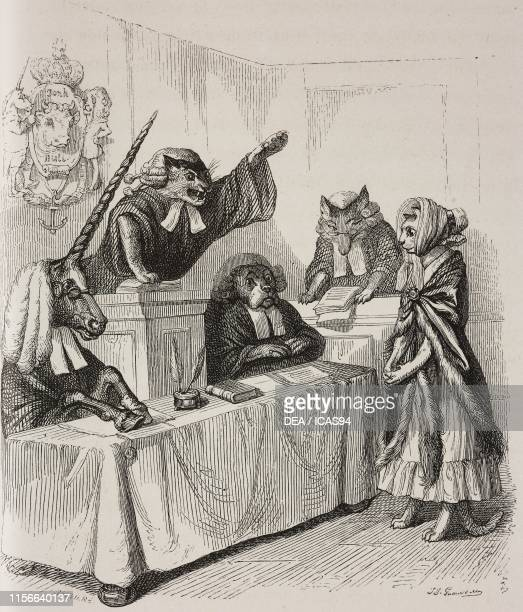 Court hearing with cats fox dog and unicorn humanized animals engraving by Breviere from a drawing by Grandville Scenes de la vie privee et publiques...