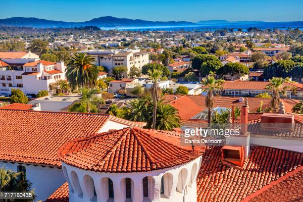 court house buildings on sunny day, santa barbara, california, usa - santa barbara stock photos and pictures
