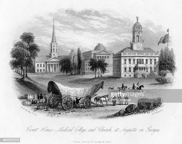 Court House Medical College and Church at Augusta in Georgia 19th century