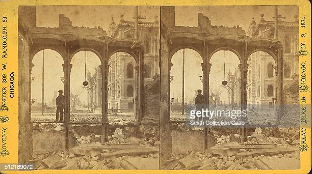 Court House seen through ruins of east side of Clark Street Chicago Illinois 1871 From the New York Public Library