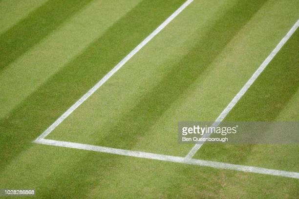 court lines on a tennis court - chalk outline stock pictures, royalty-free photos & images