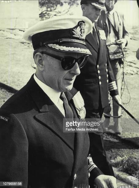 Court Martial Captain JP Stevenson Commanding Officer of HMAS Melbourne arriving at HMAS Penguin today August 20 1969 Photo by Barry James Gilmour...