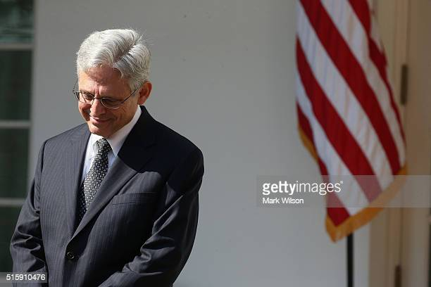 Court of Appeals for the District of Columbia Circuit Chief Judge Merrick B. Garland is introduced by U.S. President Barack Obama as the nominee for...