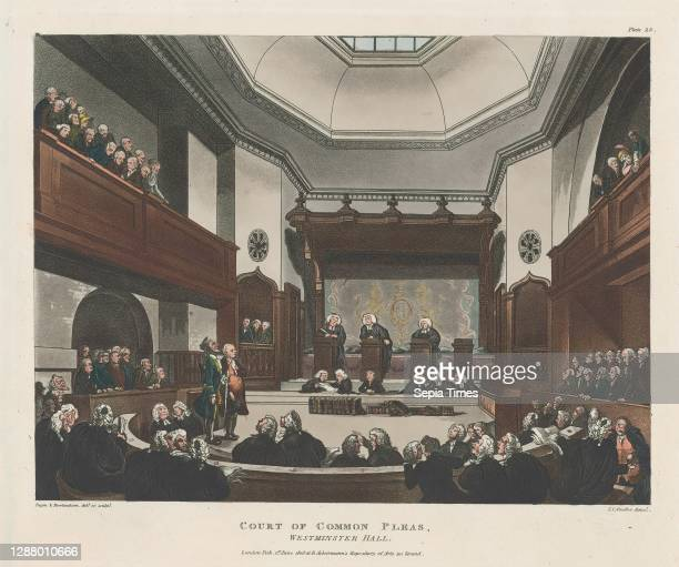 Court of Common Pleas, Westminster Hall, Microcosm of London, pl. 23, Designed and etched by Thomas Rowlandson , Designed and etched by Auguste...