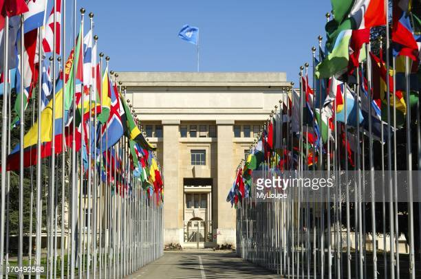 Court of flags United Nations UNO Palais des Nations Geneva Switzerland