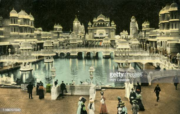 Court of Honour by night, Coronation Exhibition, London, 1911. Mughal style buildings. The Coronation Exhibition, at White City in west London, was...