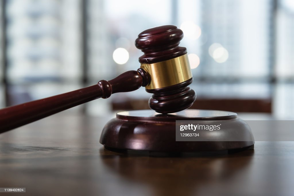 Court of Justice, Law and Rule Concept, Judge's Gavel on The Table. : Stock Photo