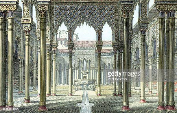 Court of the Lions Alhambra palace Granada Spain late 19th century The palace of the Moorish kings of Granada the Alhambra was partly rebuilt by...