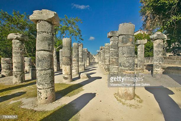 """Court of the Thousand Columns at Chichen Itza, Mayan Ruins in the Yucatan Peninsula, Mexico"""