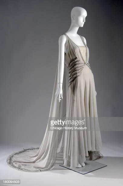Court presentation gown 1938 Silk chiffon rhinestone glass beads by Madeleine Vionnet Court presentation dress worn by Mrs Potter Palmer II nee...
