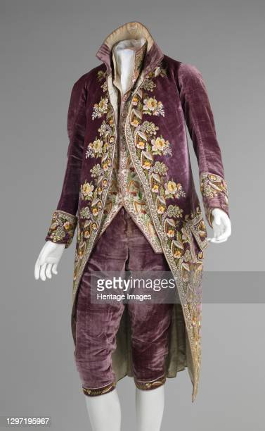Court suit, French, circa 1810. Men's court wear during the time of Napoleon Bonaparte . Artist Unknown.