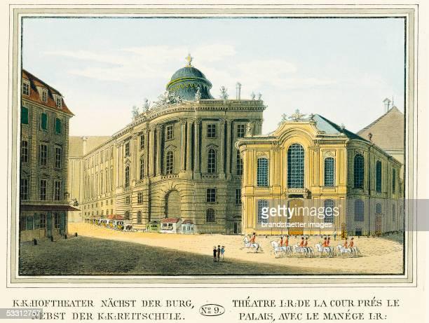 K Court Theater in Vienna Colour Etching Around 1825 [Theater naechst der Burg nebst der KK Reitschule Kolorierter Kupferstich Blatt No 9 aus dem...