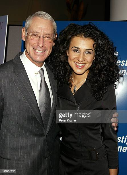 Court TV CEO Henry Schleiff and actress Layla Alizada attend the Court TV premiere of Chasing Freedom January 13 2004 in New York City
