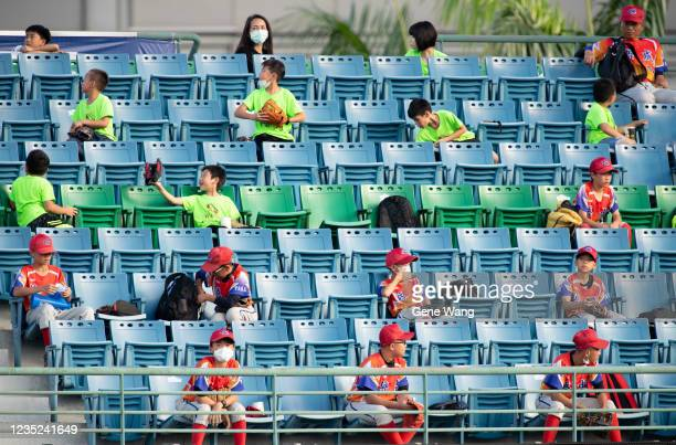 Court view of fans seating at the courtside at the bottom of the 1st inning during the CPBL game between Fubon Guardians and CTBC Brothers at the...