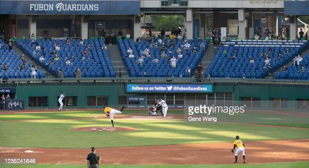 Court view of Pitcher Mitch Lively of CTBC Brothers pitching at the bottom of the 1st inning during the CPBL game between Fubon Guardians and CTBC...