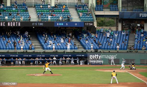 Court view of pitcher Mitch Lively of CTBC Brothers pitching at the bottom of the 3rd inning during the CPBL game between Fubon Guardians and CTBC...