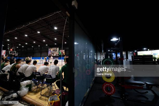 Court view of the GYM Style basketball court during the SBL Finals Game Six between Taiwan Beer and Yulon Luxgen Dinos at Hao Yu Trainning Center on...