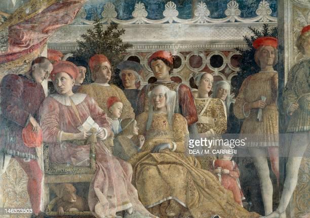 Court Wall the central scene 14651474 by Andrea Mantegna fresco San Giorgio Castle Wedding Chamber or Camera Picta Mantua