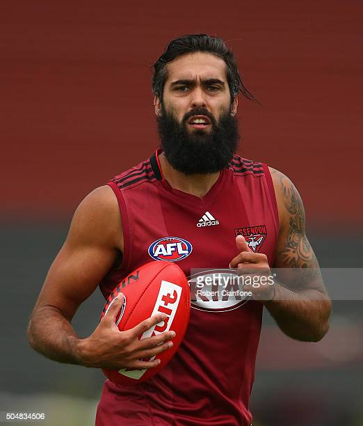 Courtenay Dempsey of the Bombers runs with the ball during an Essendon Bombers AFL training session at True Value Solar Centre on January 14 2016 in...