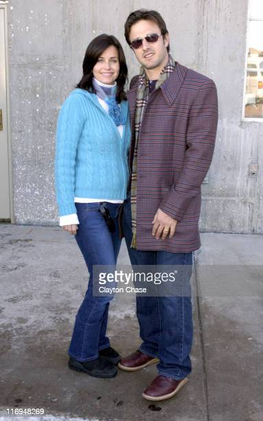 Courteney Cox and David Arquette during 2004 Sundance Film Festival 'November' Q and A at Library in Park City Utah United States