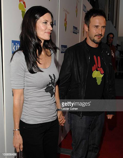 Courteney Cox and David Arquette during OmniPeace Launch Party Hosted by Courteney Cox at Kitson Men in Los Angeles California United States