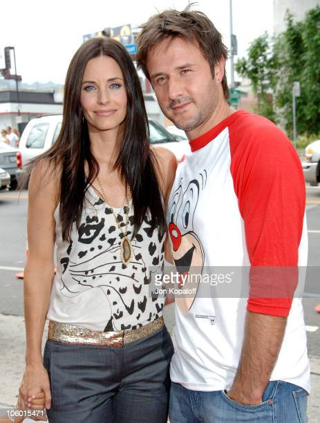 """Courteney Cox and husband David Arquette during """"Barnyard"""" Los Angeles Premiere - Arrivals at Cinerama Dome in Hollywood, California, United States."""