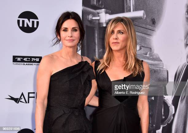 Courteney Cox and Jennifer Aniston attend American Film Institute's 46th Life Achievement Award Gala Tribute to George Clooney at Dolby Theatre on...