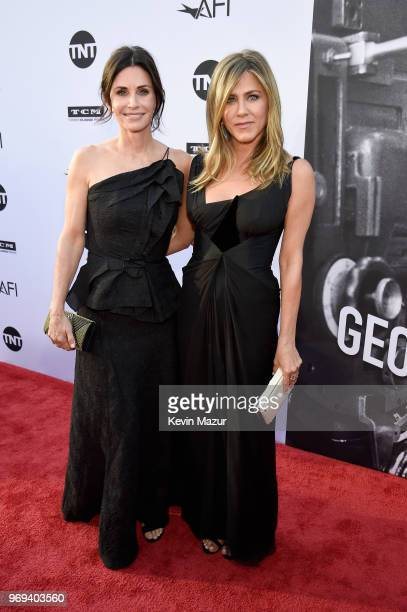 Courteney Cox and Jennifer Aniston attend the American Film Institute's 46th Life Achievement Award Gala Tribute to George Clooney at Dolby Theatre...