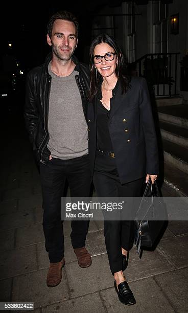 Courteney Cox and Johnny McDaid are seen leaving Restaurant 34 on May 22 2016 in London England