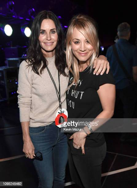 Courteney Cox and Kaley Cuoco pose backstage during I Am The Highway: A Tribute To Chris Cornell at The Forum on January 16, 2019 in Inglewood,...