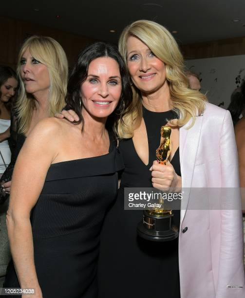 Courteney Cox and Laura Dern attend the 2020 Netflix Oscar After Party at San Vicente Bugalows on February 09, 2020 in West Hollywood, California.