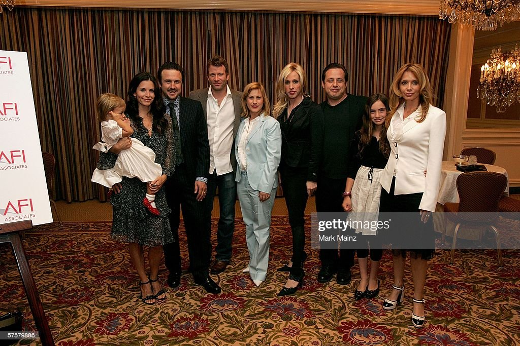 Courteney Cox Arquette, holding daughter Coco Riley Arquette, husband David Arquette, Thomas Jane, wife Patricia Arquette, Alexis Arquette, Richmond Arquette, Zoe Sidel and mother Rosanna Arquette attend the AFI Associates luncheon honoring Hollywood's Arquette family with the 6th Annual 'Platinum Circle Award' held at the Regent Beverly Wilshire Hotel on May 10, 2006 in Beverly Hills, California.