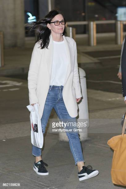 Courteney Cox is seen at JFK on October 16 2017 in New York City
