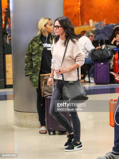 Courteney Cox is seen at Los Angeles International Airport on April 20 2018 in Los Angeles California