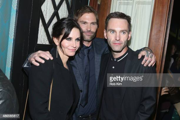 Courteney Cox Seann William Scott and Johnny McDaid attend the 'Just Before I Go' Premiere after party during the 2014 Tribeca Film Festival...