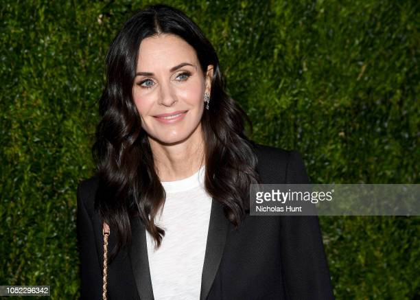 Courteney Cox wearing Chanel at Through Her Lens The Tribeca Chanel Women's Filmmaker Program Luncheon at Locanda Verde on October 16 2018 in New...