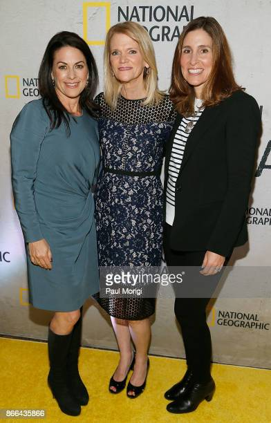 Courteney Monroe Martha Raddatz and Carolyn Berstein attend 'The Long Road Home' Washington DC Premiere on October 25 2017 at National Geographic in...