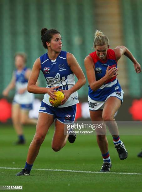 Courteney Munn of the Kangaroos in action during the round three AFLW match between the North Melbourne Kangaroos and the Western Bulldogs at the...