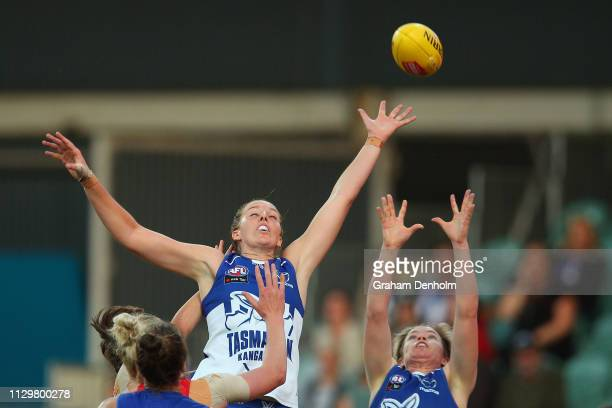 Courteney Munn of the Kangaroos jumps for the ball during the round three AFLW match between the North Melbourne Kangaroos and the Western Bulldogs...